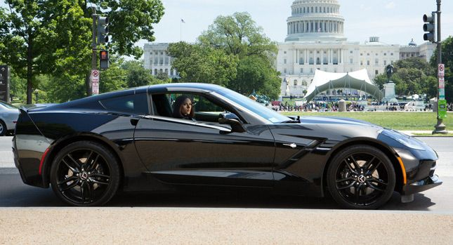This is the Black Widow's #CorvetteStingray from 'Captain America: The Winter Soldier' Isn't it stunning!? Click on the image to watch the NEW trailer and see it in action! #AmericanMuscle