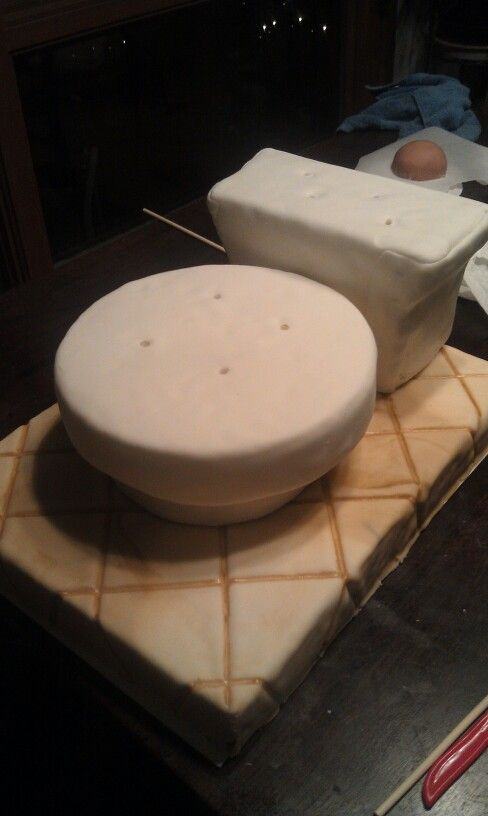 Beginning of toilet cake