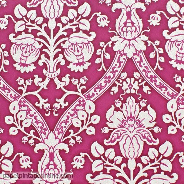Papel pintado flock 4 95689 1 papel de fondo rosa fucsia for Papel pintado fucsia