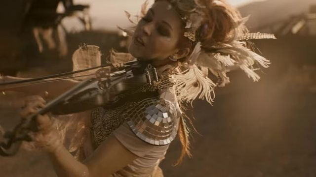 Lindsey Stirling in her latest video, The Arena
