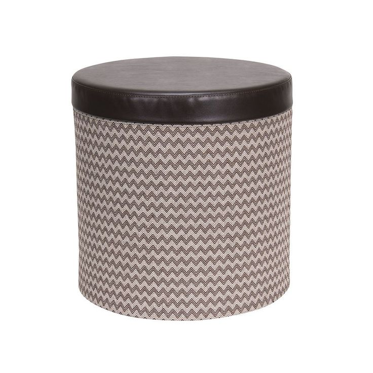 Household Essentials Chevron Collapsible Round Storage Ottoman, Brown