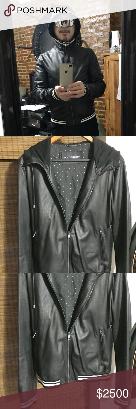 Dolce&Gabbana genuine leather hooded bomber jacket Dolce&Gabbana genuine leather hooded bomber jacket funnel collared  is sleek and sporty .used gently a few times in excellent condition Dolce & Gabbana Jackets & Coats Bomber & Varsity