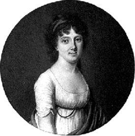 Gravure ronde en noir et blanc, présentant le haut du corps d'une femme en robe blanche décolletée, de trois-quarts et le visage tourné vers le spectateur, aux cheveux mi-longs et noirs.