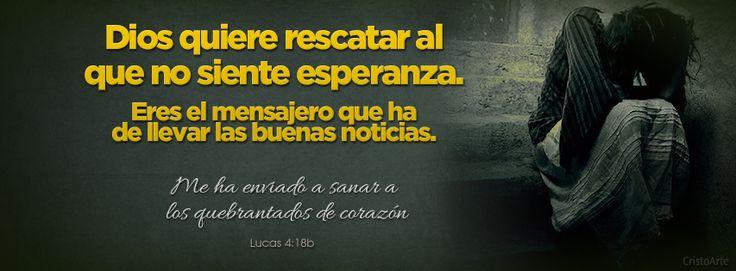 """""""Me ha enviado a sanar a los quebrantados de corazón"""" - Lucas 4:18b (Reina-Valera 1960)"""