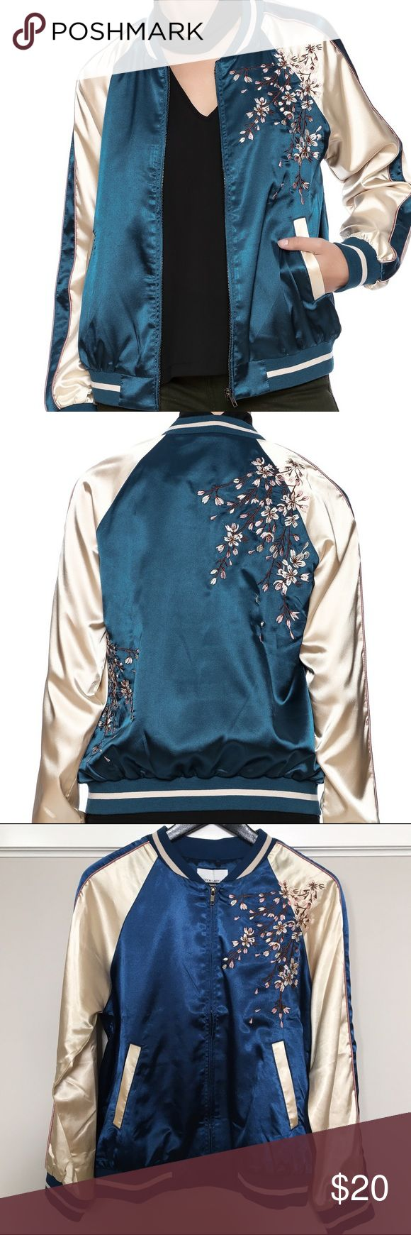 Cotton Candy LA Geisha Bomber Jacket Small Satin bomber jacket with cherry blossom embroidery. Soft pink lining. 97% Polyester, 3% Spandex. Never worn! Bloomingdale's Jackets & Coats