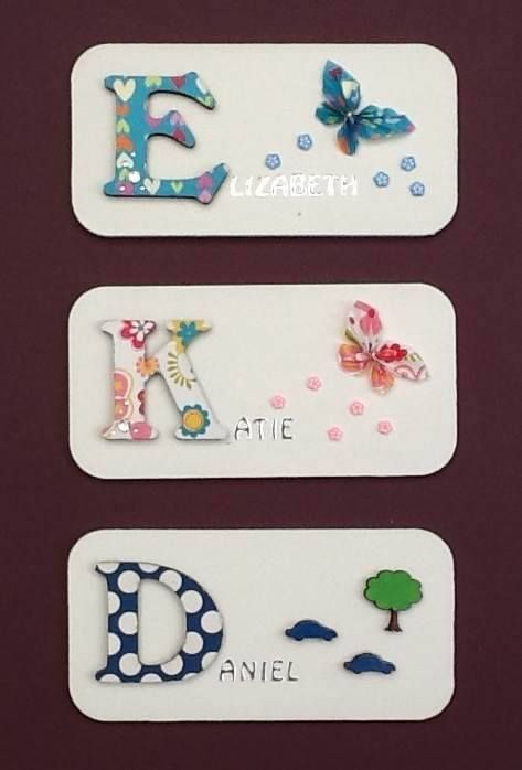 https://www.facebook.com/Rozcraftz Girls and boys room door plaques. Decoupaged letters mounted on painted ply wood plaque embellished with fimo flowers, gems and butterflies (girls) and small wooden cars/trains/balloons/boats (boys). Supplied with self adhesive velcro pads for mounting. Other designs/colours available. £5 plus postage.
