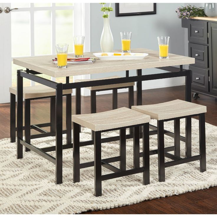Small Dining Table Set Chairs Kitchen Bistro Dinette Breakfast 5 Piece Room Wood #diningtableset #breakfastnook #dinette #5piecediningset