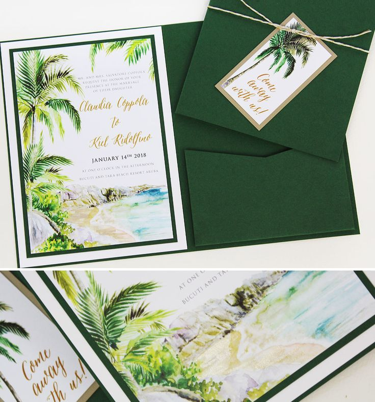 41 best tropical wedding invitations images on pinterest for Tropical wedding invitations