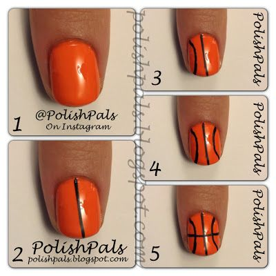 Super easy basketball nails! Easy for future games!! @moxiethrift on etsy Nolting doing this next time I go to ur game. With gold and blue as well. ;) @Shanna Freedman Freedman Freedman Freedman Freedman Freedman Anderson should to. Just saying. Lol Kay im done