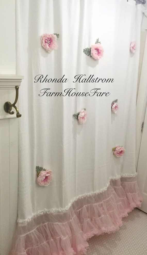 Custom Altered Shower Curtain Long Pink Flower Tulle Shabby