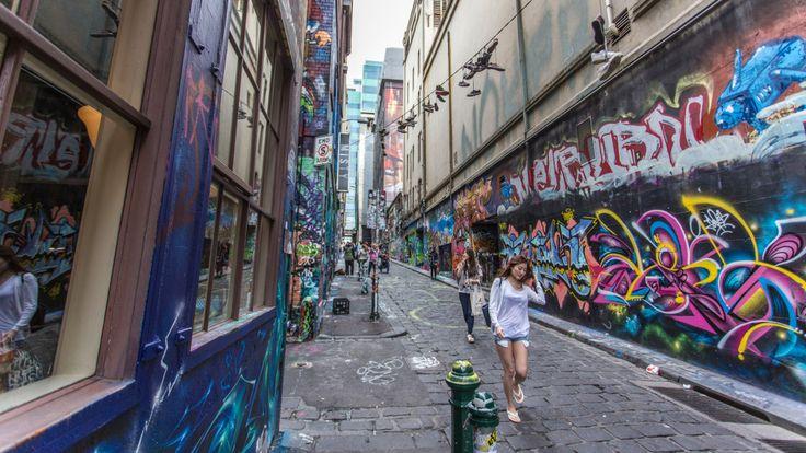 Walking down Hosier Lane
