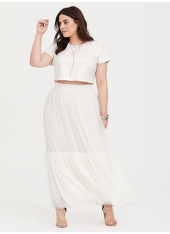 Torrid Special Occasion White 2 Piece Crop Top Skirt High Waisted Skirt Crop Top Plus Size Maxi Dresses Crop Top Skirt