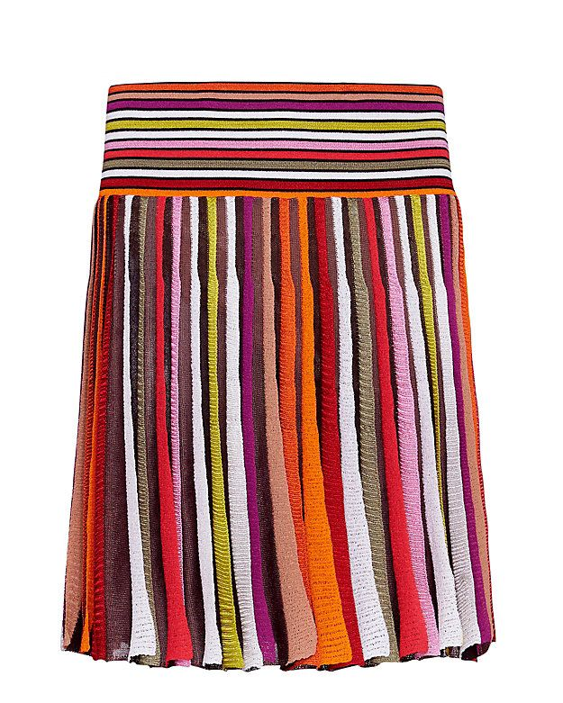 Missoni Pleated Striped Knit Mini Skirt: Signature Missoni knits are like no other and we are totally obsessed with this pleated mini skirt silhouette. Elastic waistband. Lined. In multi.   Fabric: 90% rayon/10% nylon Lining: 97% silk/3% elastane  Made in Italy.    Model Measurements: Height ...