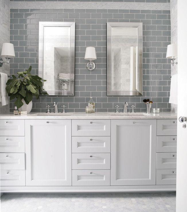 Gray Subway Backsplash Polished Nickel Accents Vanity Details Master Bed Bath In 2018 Pinterest Bathroom And Renovations