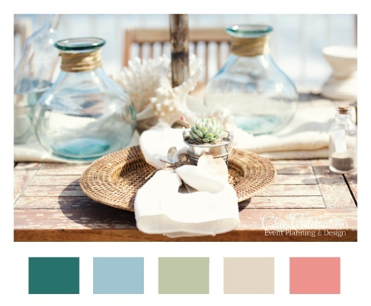 Fall Beach Wedding Colors I Like The Blues And Then Adding A Pop Of Coral
