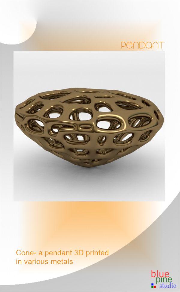 Cone pendant 3D printed in various metals
