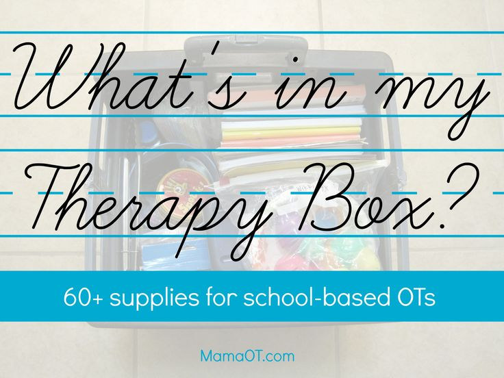 What's in My Therapy Box?: 60+ Supplies for School-Based OTs - Pinned by @PediaStaff – Please Visit ht.ly/63sNtfor all our pediatric therapy pins