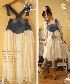 Denim Overall and Lace Dress