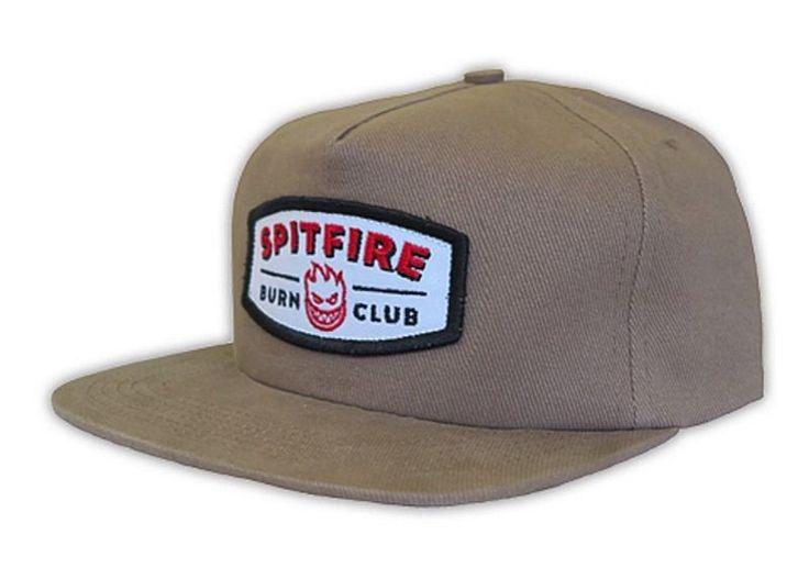 Spitfire Wheels BURN CLUB PATCH UNSTRUCTURED Snapback Skateboard Hat KHAKI   eBay