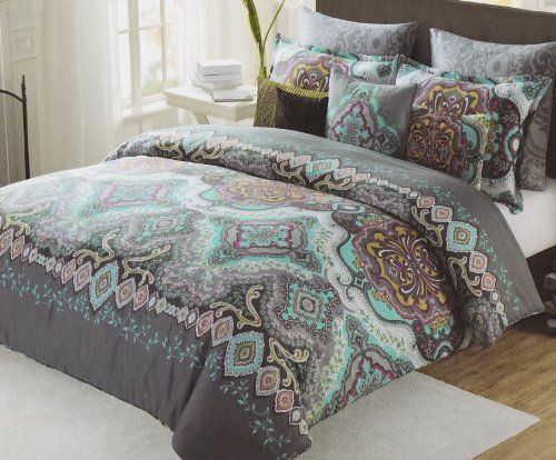 max studio home duvet cover 3 piece set full queen paisley moroccan gray teal max studio home. Black Bedroom Furniture Sets. Home Design Ideas
