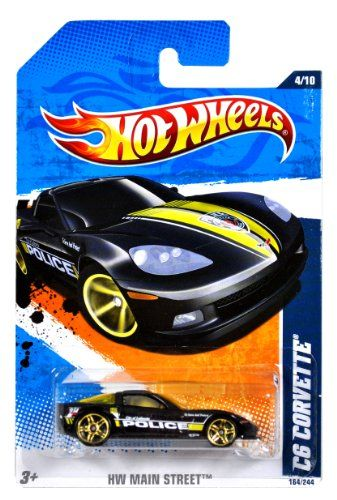 Mattel Year 2010 Hot Wheels HW MAIN STREET Series Set 410 164 Scale Die Cast Car 164244  City of Fayette Black Color Police Sports Car C6 CORVETTE T9871 >>> Learn more by visiting the image link.Note:It is affiliate link to Amazon.