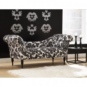 Furniture. Contemporary Chaise Lounge for relax. Awesome Black White Floral Pattern Button Tufted Chaise Lounge Sofa Couch Together Black Wooden Legs In Carved And Also White Furry Rug Floor