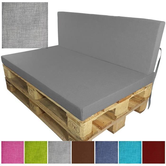 coussin de dossier pour palette europe 120x40x8 cm en gris. Black Bedroom Furniture Sets. Home Design Ideas