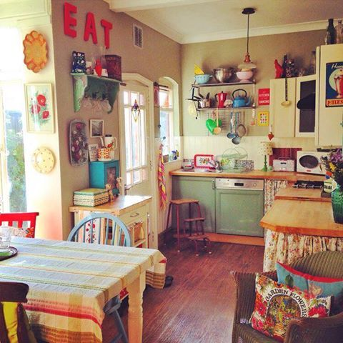 Bright colours, eclectic modern, granny chic kitchen!