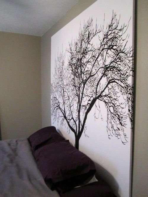 Staple a shower curtain to a wooden frame for inexpensive large scale artwork