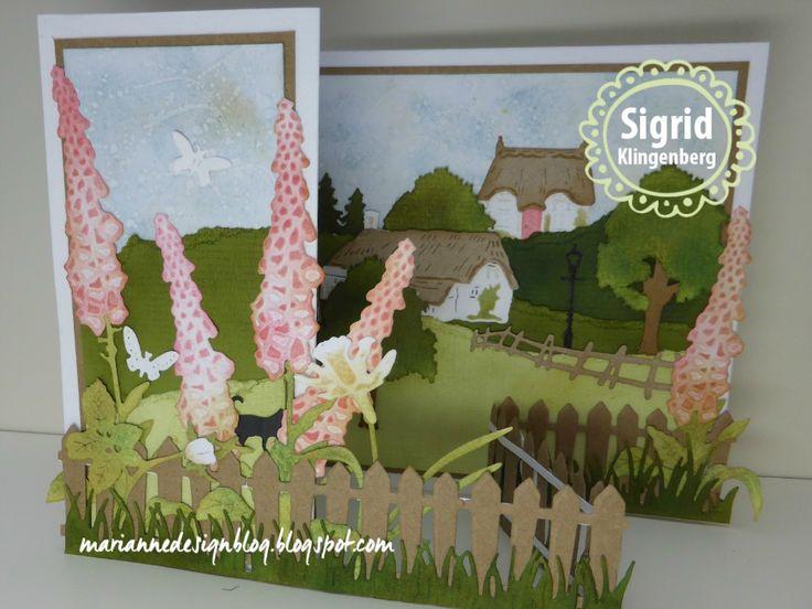 Bij de nieuwe cottage huisjes van deze maand moest ik gelijk denken aanEngelse tuinen.       Snijd uit hagelwit papier een rechthoek van 2...