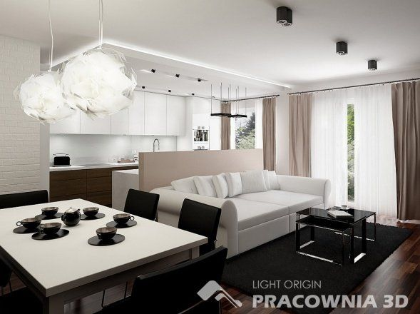 Apartment Groovy Small Space Apartment Interior Design Ideas With White Wall And Drop Cloth Window Curtains Featuring Cozy White Sofa And Minimalist Dining