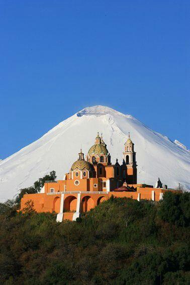 Mexico. Cholula and Popocatepell volcano