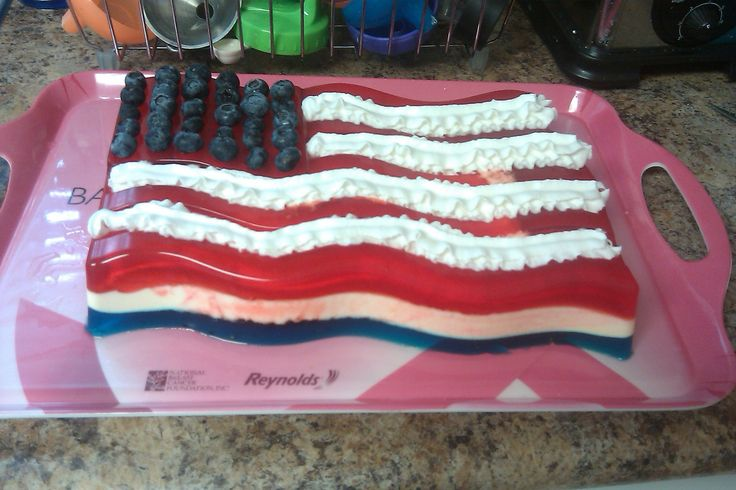 Red White and Blue Jello Flag, Perfect for the 4th of July, Memorial Day and Labor Day. Great BBQ Dessert. Jello Flag Mold.