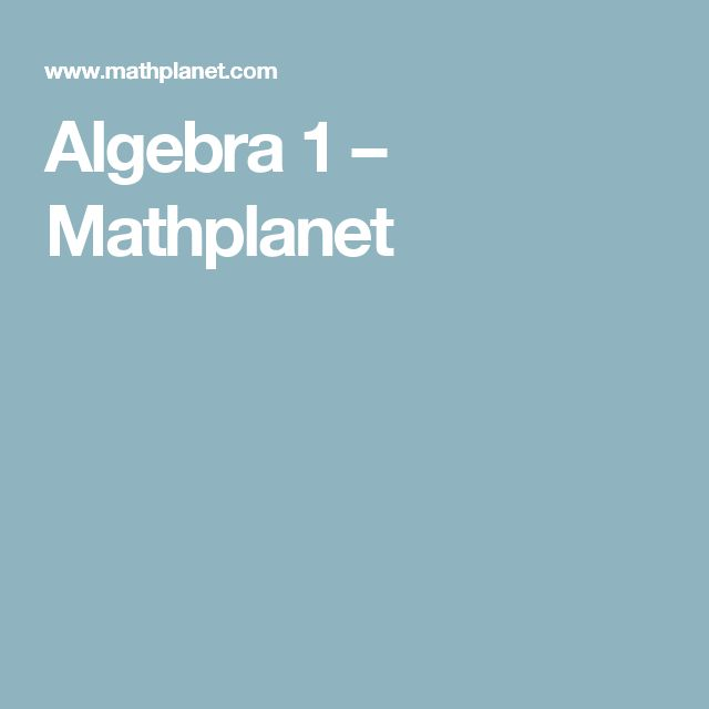 Algebra 1 – Mathplanet