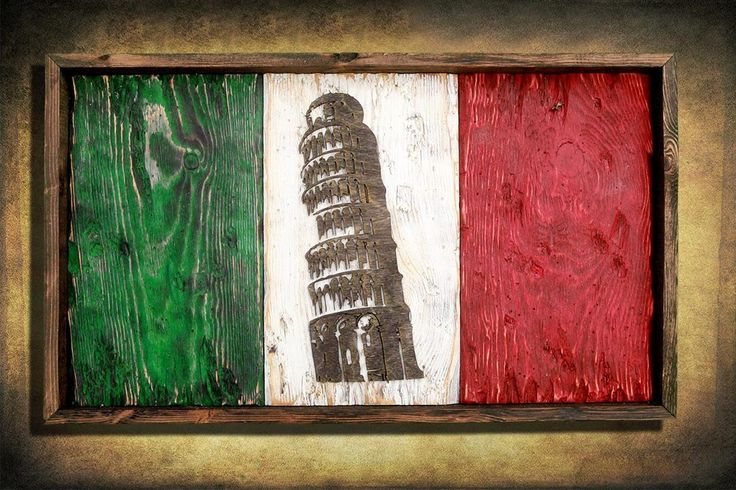 Italian flag, Leaning Tower Edition Weathered Wood One of a kind, vintage, distressed, reclaimed, Europe art flag art. Italy Red White green. This is a one of a kind, weathered old wood, hand painted, distressed Italian flag with be famed Leaning Tower of Pisa silhouette cut from wood. The flag of Italy (bandiera d'Italia, often referred to in Italian as il Tricolore) is a tricolour featuring three equally sized vertical pales of green, white, and red, with the green at the hoist side…