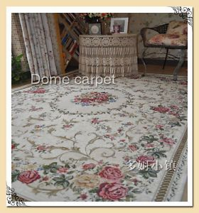 1-PC-Victorian-Country-Style-Floral-Floor-Mat-Rug-Carpet-Beige-Background