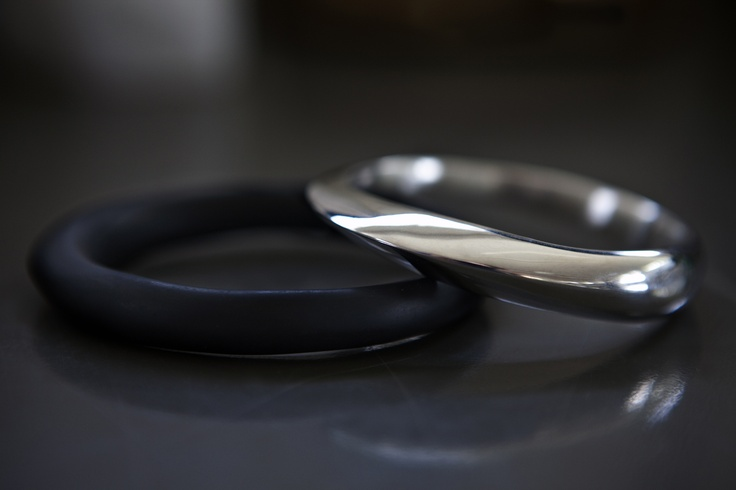 Dinosaur Designs The Art of Black & White 2013 Resin and Silver Bangles