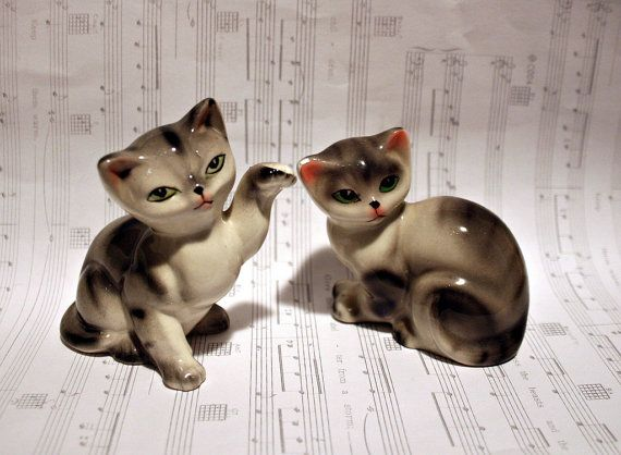 Set of 2 Gray Tortoiseshell Cats  Instant by RandomVoyeurVintage, $14.00