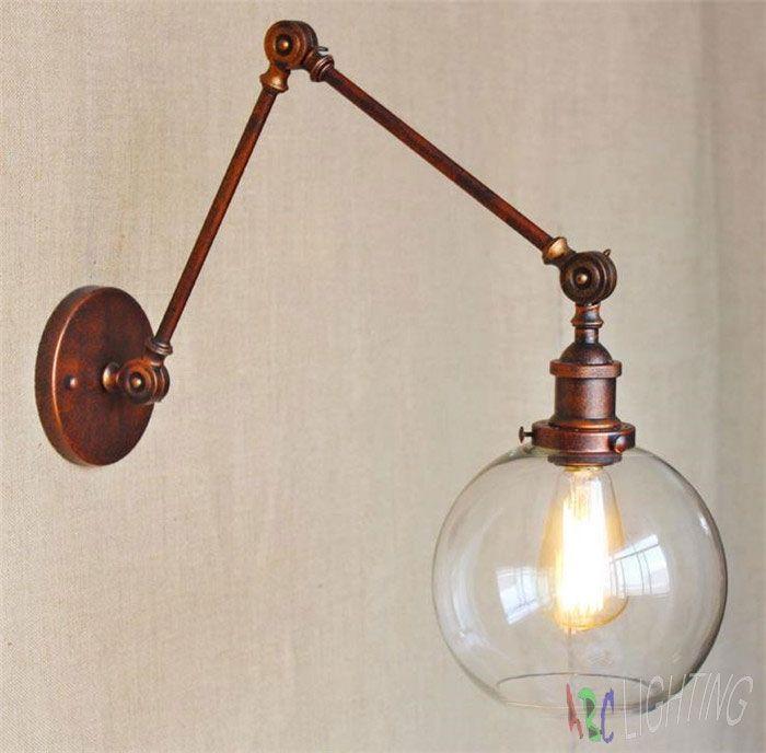 69.99$  Watch now - http://ali4x9.worldwells.pw/go.php?t=32685466528 - Vintage Clear Glass Globe Ball lamp shade Wall Light Retro Nostalgic Sconce Rustic lamparas de mesa luminaria decoracao quarto