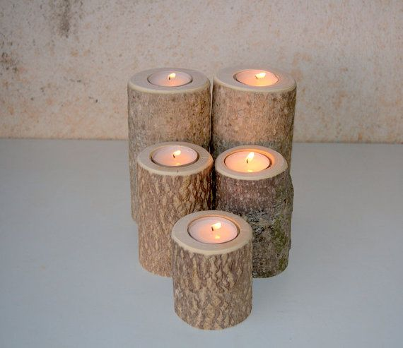 5 Wood Candle Holders  Wood Log Holders  White Tree Candle