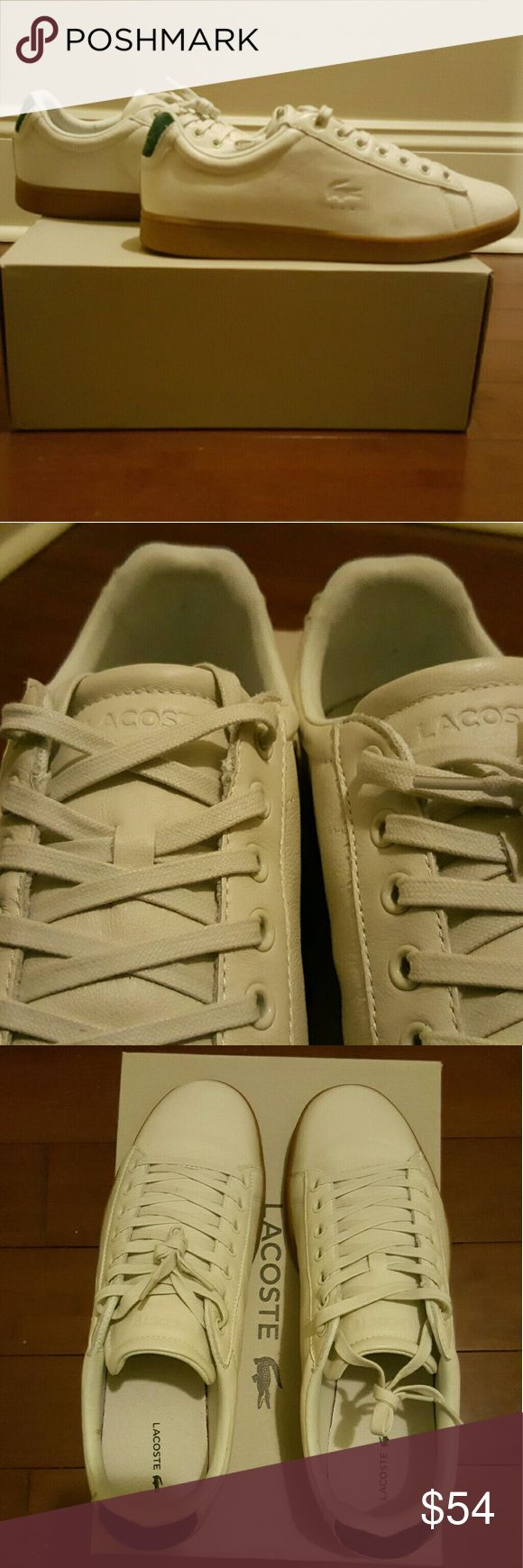 Lacoste Carnaby Evo 5 Leather  Size 11 Off-White Cool Summer shoes, brand new Lacoste Sneakers Soft Leather Off-White size 11 with gum bottom. Wear this with casual or street attire.  Item will be shipped double boxed.  ALL SALES ARE FINAL!!! Lacoste Shoes Sneakers