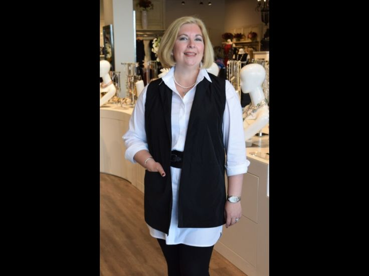 August 2015  Our visual merchandiser Kirsten, is wearing classic and key pieces for the season... The Sun Kim sleeveless vest with it's long lean lines is slimming and smart worn over the long Comfy shirt and Kirsten's own belt( from last fall's Sandwich collection).
