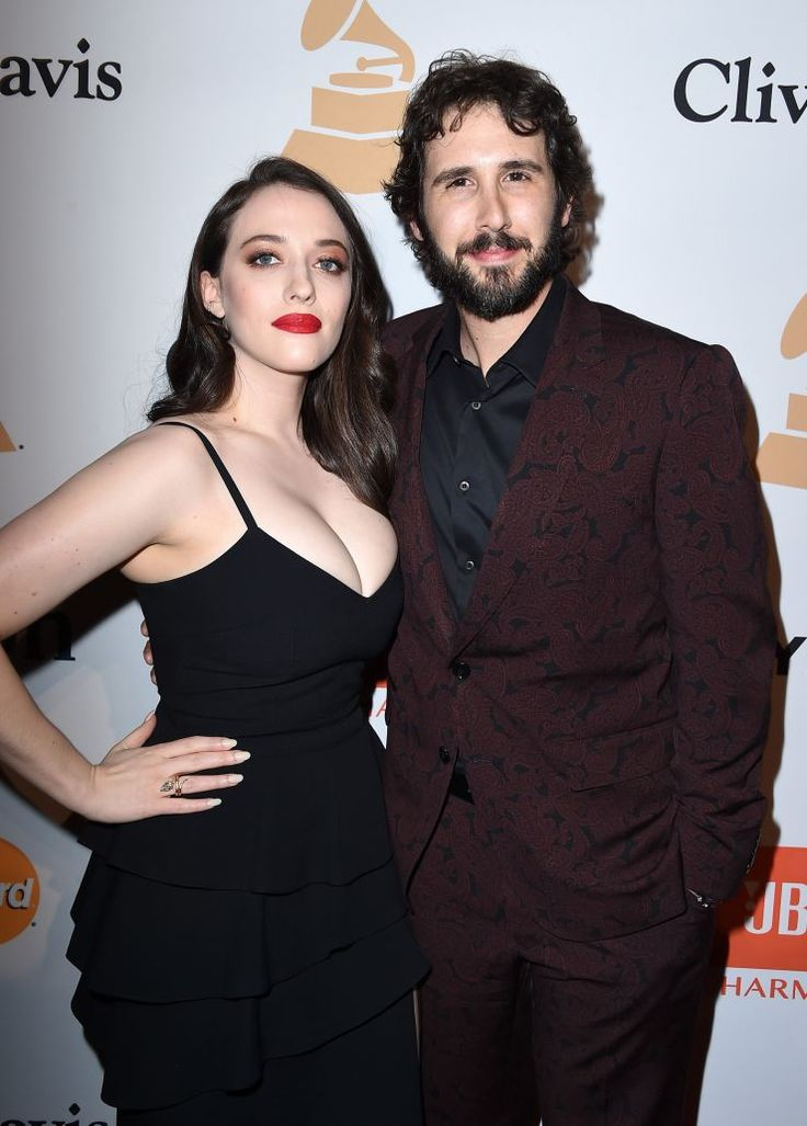 Actress Kat Dennings and 58th GRAMMY nominee Josh Groban arrive at Clive Davis' and The Recording Academy's Pre-GRAMMY Gala on Feb. 14 in Beverly Hills, Calif.