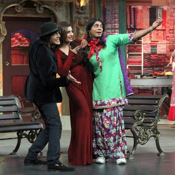 Raveena Tandon and Chunky Pandey with Sunil Grover on the sets of the popular TV show Mad In India, in Mumbai.