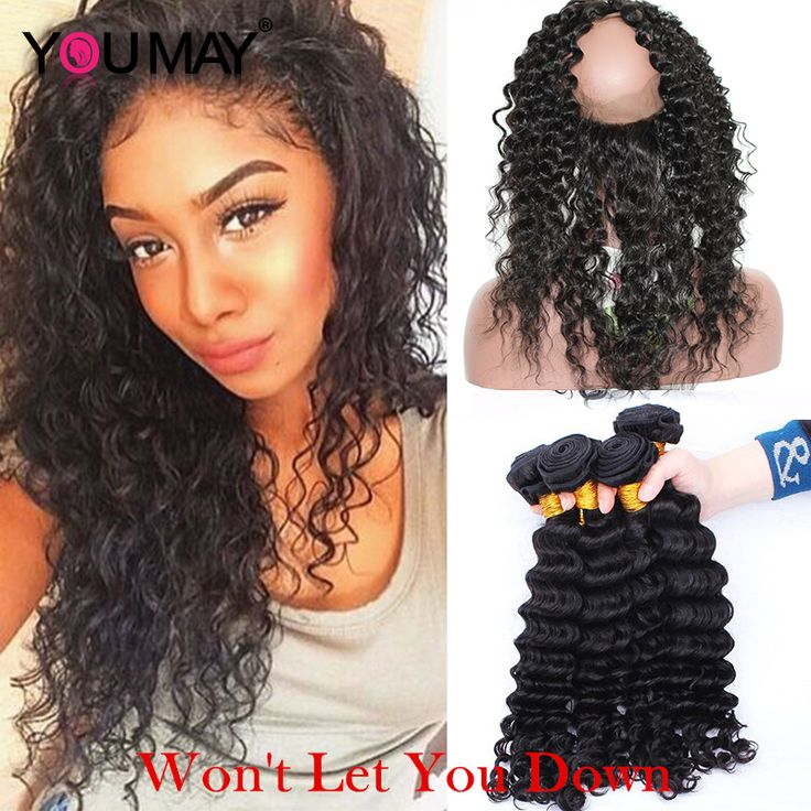 Pre Plucked 360 Lace Frontal With Bundles Brazilian Deep Wave 7A Lace Frontal Closure With Bundles 360 Frontal With 2 Bundles
