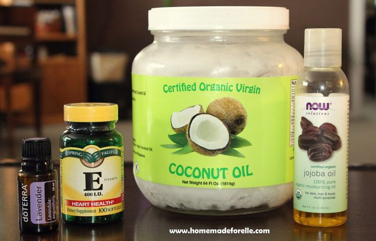 Whipped Coconut Oil 1 cup coconut oil, 2 tbsp of jojoba oil, 1 tsp vitamin E oil, 1-15 drops essential oil Whip it together, store it in a jar, use it!
