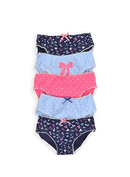 Pumpkin Patch - underwear - bow print 5pk brief set - W4UW30002 - assorted - 1-2yrs to 10-12yrs