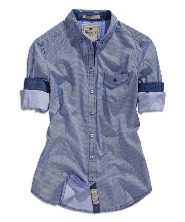 Look at this Medium Blue Chambray Button-Up Top on #zulily today!