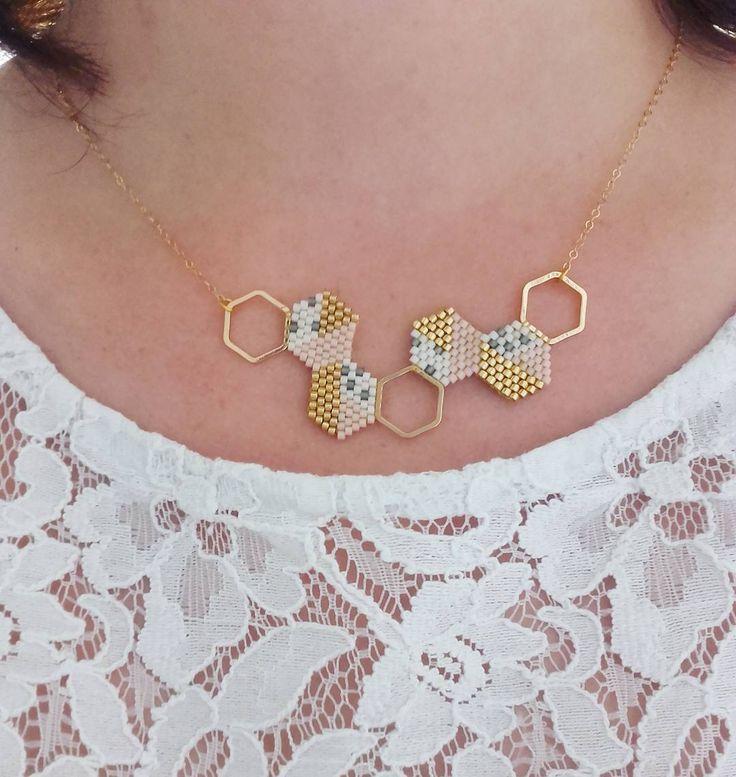 À mon cou ce matin un collier très scandinave et aux couleurs pastels j en ai fait un collier cette fois!  #jenfiledesperlesetjassume #miyuki #brickstitch #collier #scandinave #pastel #perlesaddict #perlesandco #lili_azalee #motifliliazalee #alittlemarket #hexagone #diy #bijoux #jewelrygram #instapicture #create #creavenue #tissagedeperles #miyukiaddict #passiondiy #tissage @perlesandco