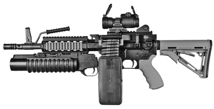 Ares Shrike light machine gun with belt feed, short assault barrel and add-on M203 grenade launcher
